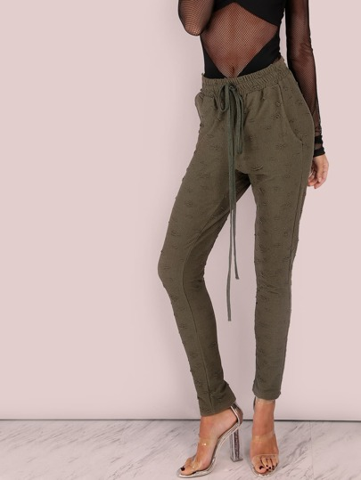 Ragged Skinny Sweatpants OLIVE