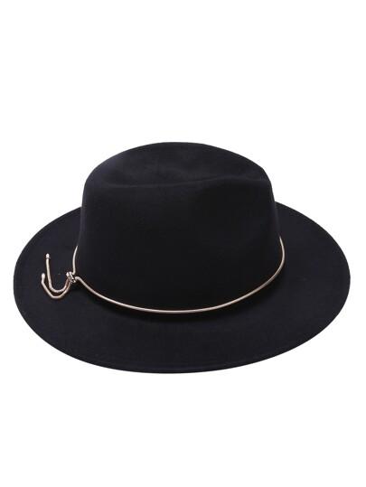 Black Fedora Hat With Metal Jadoku Chain