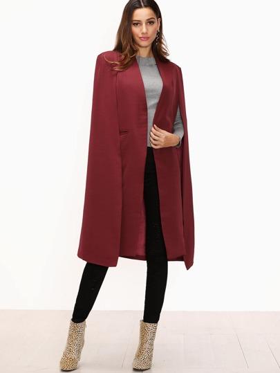 Burgundy Pocket Open Front Cape Overcoat