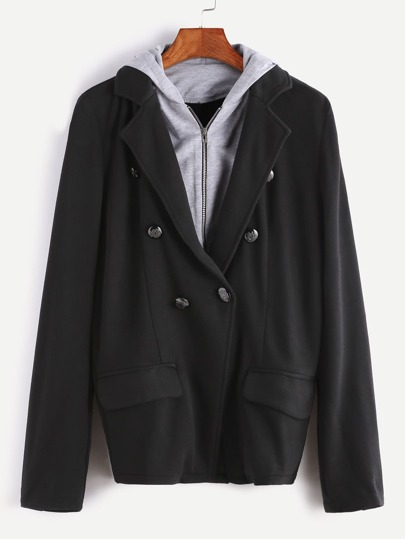 Black Double Breasted 2 In 1 Hooded Blazer