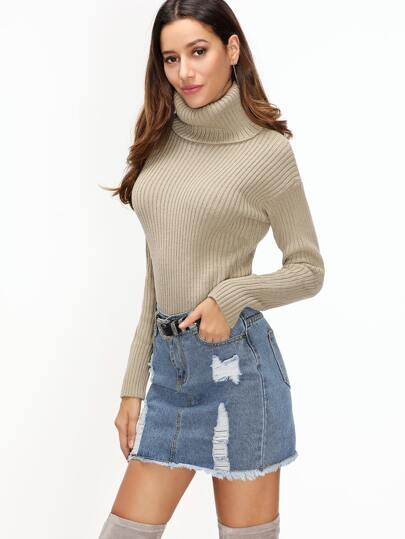 Khaki Turtleneck Drop Shoulder Ribbed Sweater