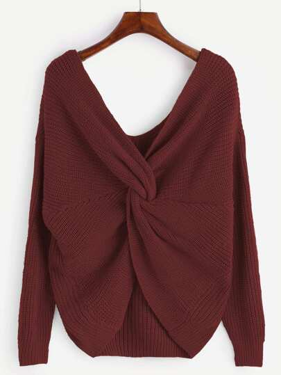 Brick Red Double V Neck Knot Sweater