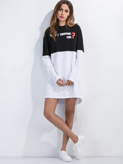 Color Block Slogan Print Dip Hem Tee Dress