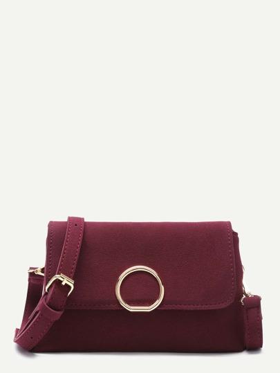Maroon Nubuck Leather Flap Shoulder Bag