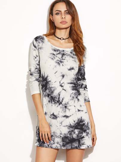Black And White Tie Dye Print Ribbed Dress