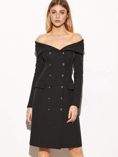 Black Off The Shoulder Double Breasted Coat