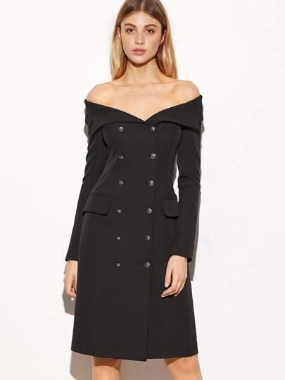 Zweireiher Mantel Schulterfrei-schwarz
