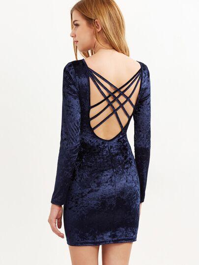Vestido ajustado de terciopelo con espalda cruzada - azul marino