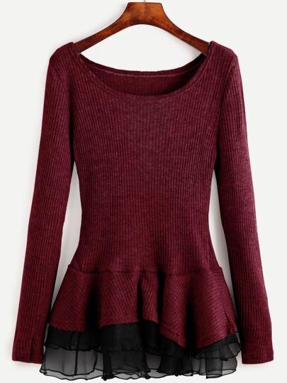 Burgundy Scoop Neck Contrast Chiffon Hem Ribbed Sweater