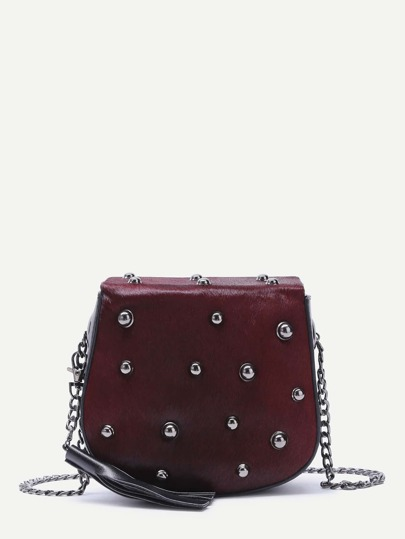 Burgundy Tassel Trim Studded Horse Hair Crossbody Bag