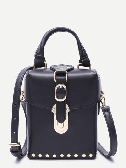 Black Faux Leather Buckle Strap Studded Boxy Shoulder Bag