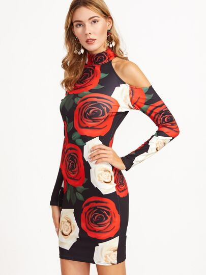 Multicolor Floral Print Cold Shoulder Sheath Dress