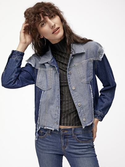 Contrast Panel Frayed Dip Hem Denim Jacket