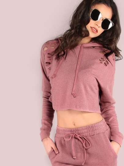 Distressed Cropped Hoodie MAUVE