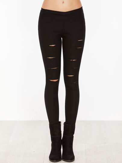 Black Skinny Ripped Elastic Pants