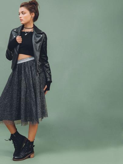 Black Mesh Circle Skirt