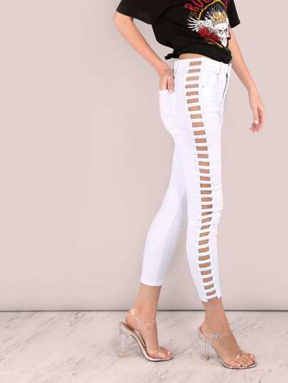 High Waisted Open Bar Denim Ankle Skinnies WHITE