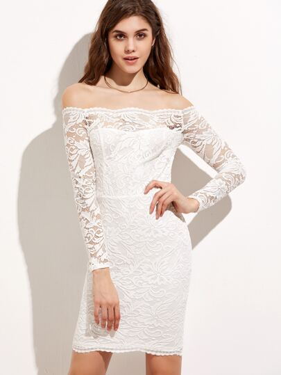 White Floral Lace Overlay Off The Shoulder Dress