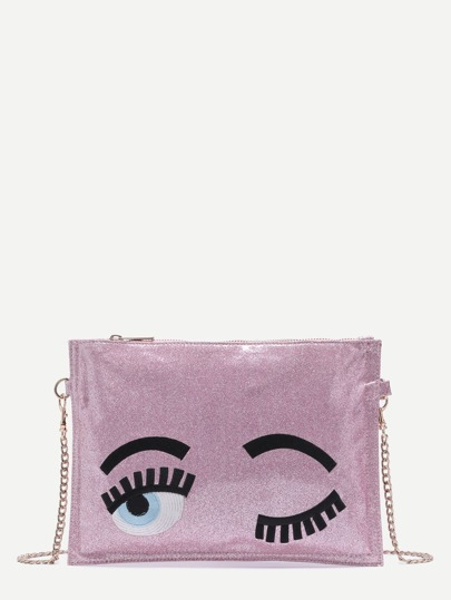 Pink Blinking Eye Glitter Sequins Clutch Bag With Chain Strap