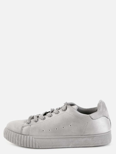 Lace Up Faux Suede Sneakers LIGHT GREY