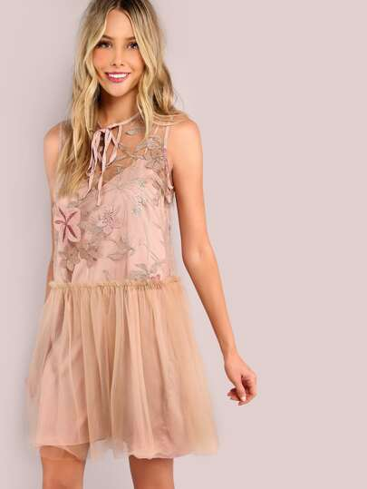 Embroidered Floral Tulle Cami Set Dress BLUSH