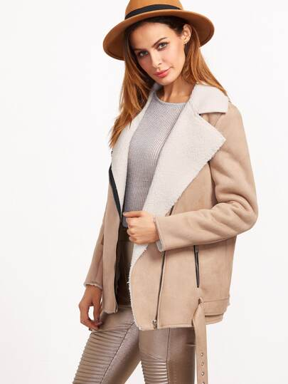 Khaki Faux Shearling Asymmetric Zip Belted Hem Jacket