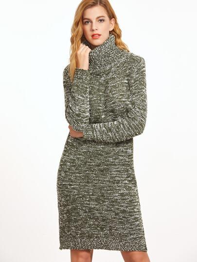 Pale Green Turtleneck Slub Sweater Dress