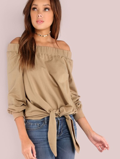 Off The Shoulder Front Tie Pullover KHAKI