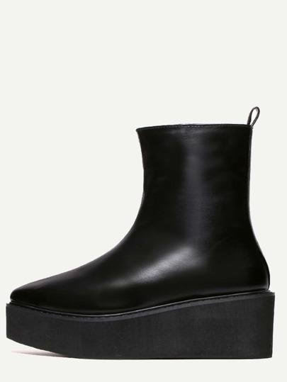 Bottes en faux cuir à fond plat pointue -noir