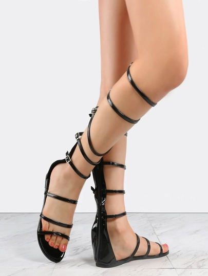 Patent Leather Knee High Sandals BLACK