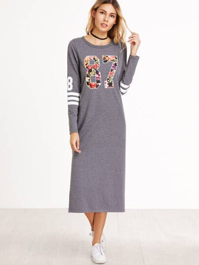 Heather Grey Floral Varsity Print Side Slit Dress