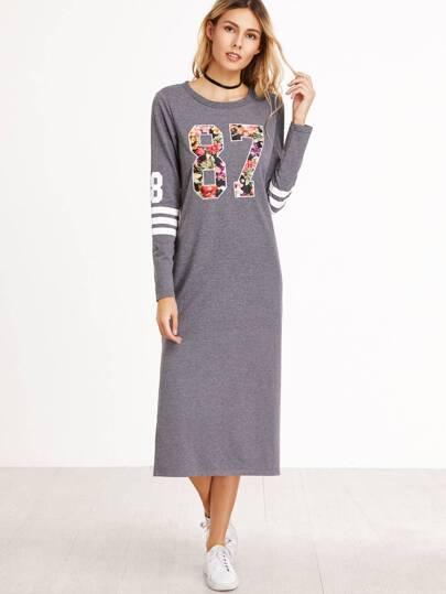 Vestido con estampado universitario floral y abertura lateral - gris