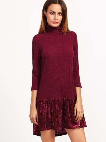 Burgundy Ribbed Knit High Neck Velvet Ruffle Trim Dress