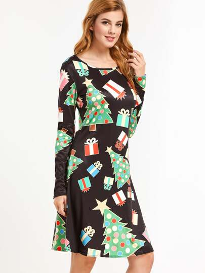 Christmas Print Long Sleeve A-Line Dress