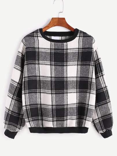 Contrast Trim Tartan Plaid Sweatshirt