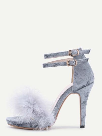 Grey Feather Embellished Ankle Strap Stiletto Velvet Sandals