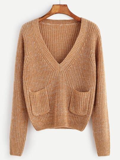 Jersey corto con escote V y bolsillo - camello