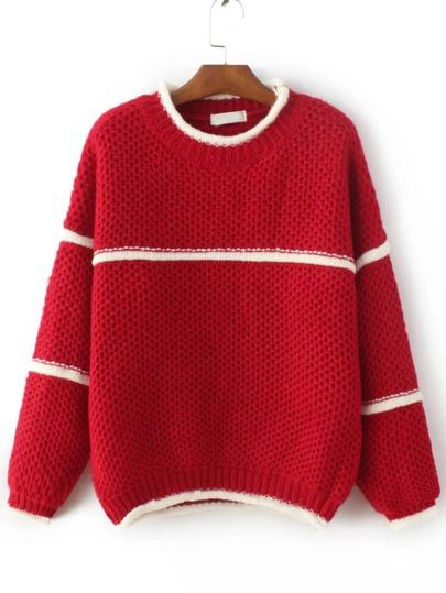 Red Contrast Trim Crew Neck Sweater
