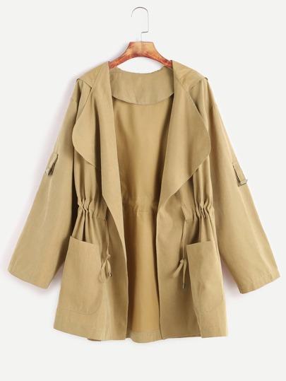 Khaki Drawstring Waist Hooded Coat