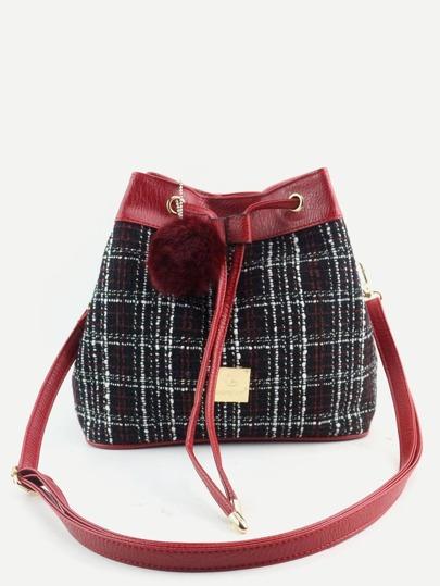Red Plaid Pom Pom Drawstring Bucket Bag