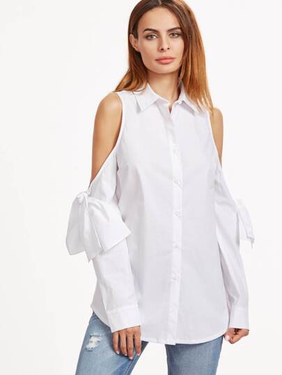White Knotted Cold Shoulder Blouse
