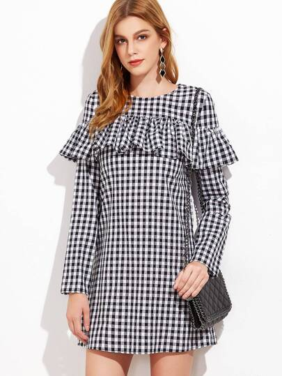 Black And White Gingham Ruffle Dress