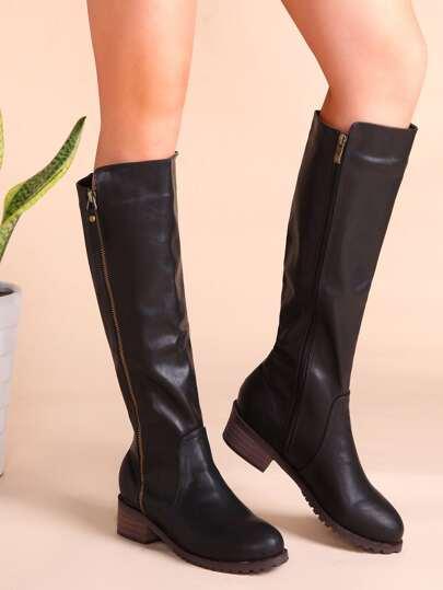 Kork-Ferse-Knie Stiefel mit Reißverschluss Seitlich Kunstleder-schwarz