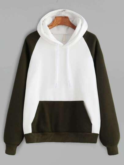Color Block Raglan Sleeve Pocket Hooded Sweatshirt