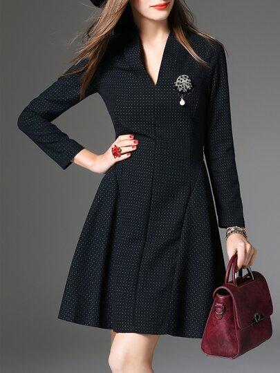 Vestido línea A con escote V - negro