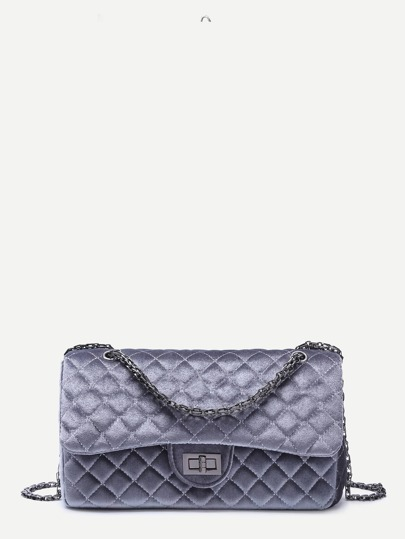 Grey Velvet Quilted Flap Top Chain Bag