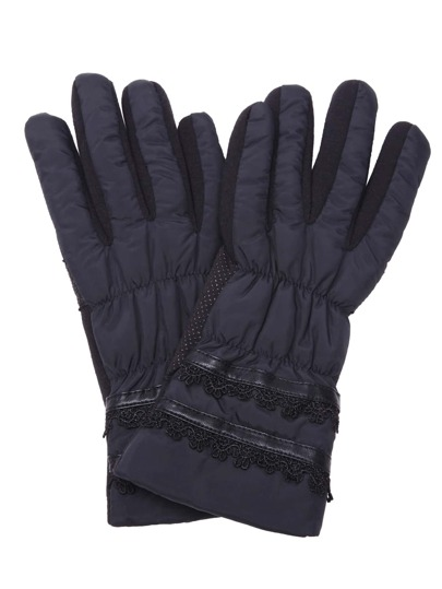 Black Winter Outdoor Thermal Gloves With Lace Detail