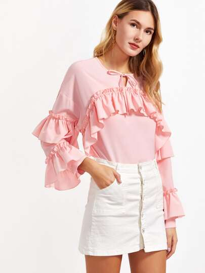 Pink Tie Neck Layered Ruffle Sleeve Top