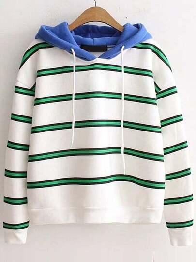 Green Striped Hooded Casual Sweatshirt
