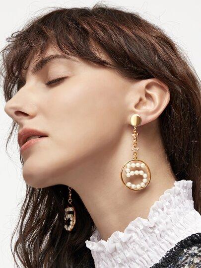 Gold Tone Hoop Pearl Drop Earrings